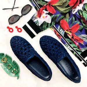 Blue Braided Slip On Sneakers